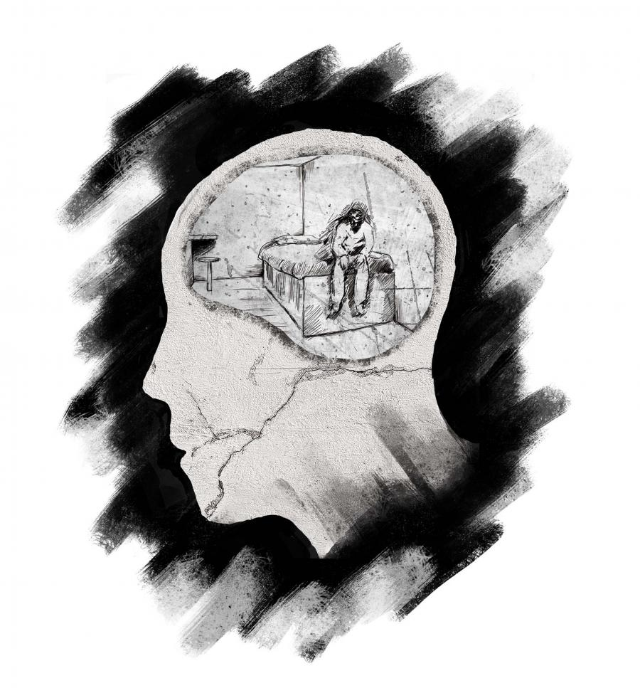 A stylized cross-section of a head with a jail cell in the brain.